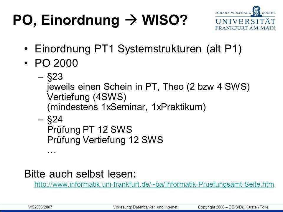 WS2006/2007 Vorlesung: Datenbanken und Internet Copyright 2006 – DBIS/Dr. Karsten Tolle PO, Einordnung  WISO? Einordnung PT1 Systemstrukturen (alt P1
