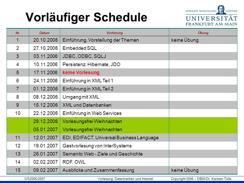 WS2006/2007 Vorlesung: Datenbanken und Internet Copyright 2006 – DBIS/Dr. Karsten Tolle Vorläufiger Schedule Nr.DatumVorlesungÜbung 120.10.2006Einführ