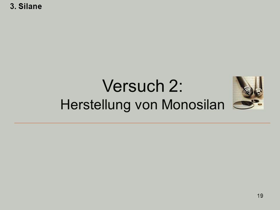 19 3. Silane Versuch 2: Herstellung von Monosilan