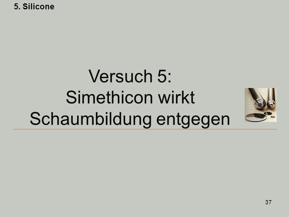 37 Versuch 5: Simethicon wirkt Schaumbildung entgegen 5. Silicone