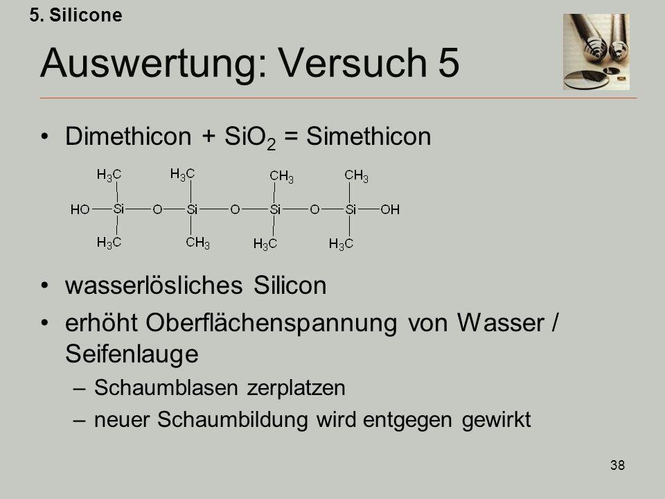 38 Auswertung: Versuch 5 Dimethicon + SiO 2 = Simethicon wasserlösliches Silicon erhöht Oberflächenspannung von Wasser / Seifenlauge –Schaumblasen zerplatzen –neuer Schaumbildung wird entgegen gewirkt 5.