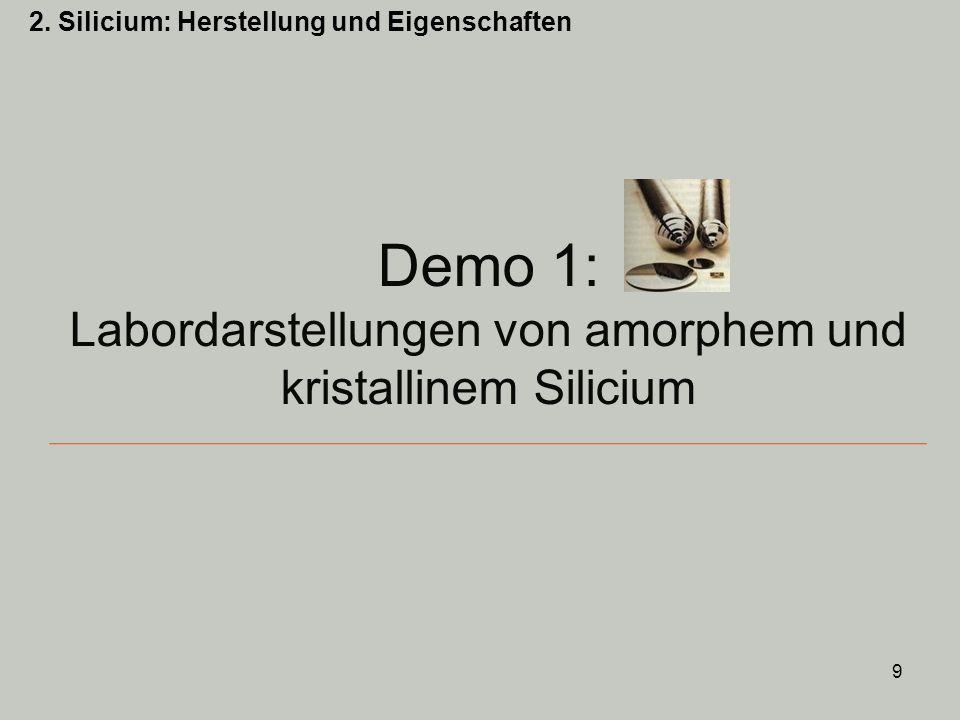 10 Auswertung: Demo 1 Darstellung von braunem, amorphem Silicium: + IV 0 0 +II Nebenreaktion: 0 0 +II -IV MgO + Mg 2 Si werden mit HCl (aq) umgesetzt: 2.