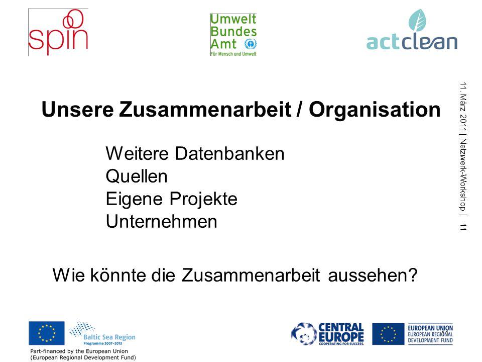 11. März 2011 | Netzwerk-Workshop | 11 11 Unsere Zusammenarbeit / Organisation Weitere Datenbanken Quellen Eigene Projekte Unternehmen Wie könnte die