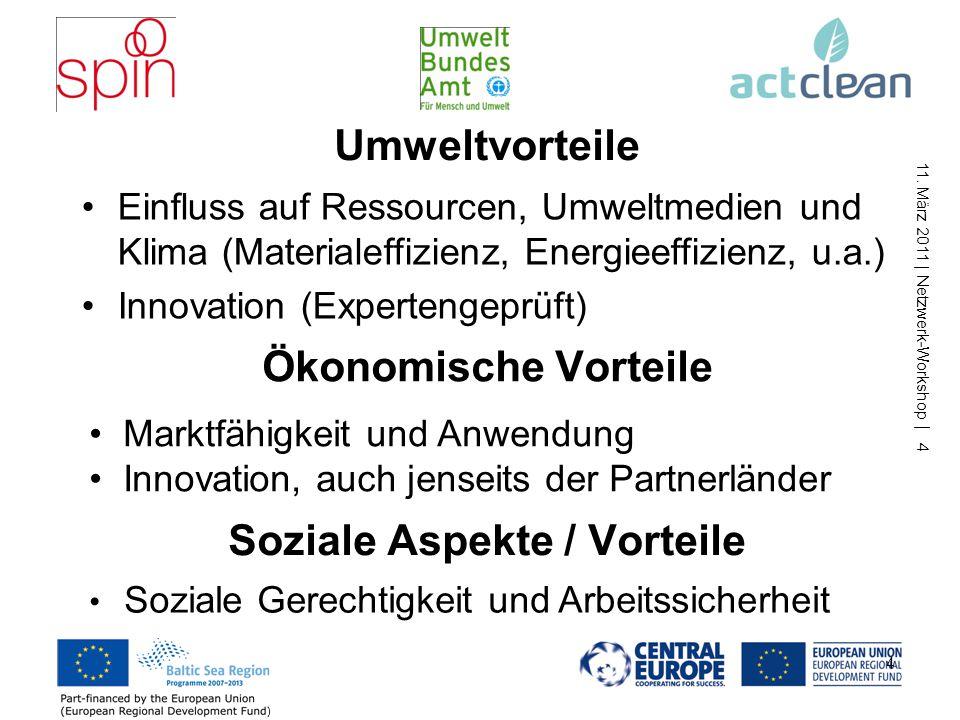 11. März 2011 | Netzwerk-Workshop | 4 Umweltvorteile Einfluss auf Ressourcen, Umweltmedien und Klima (Materialeffizienz, Energieeffizienz, u.a.) Innov