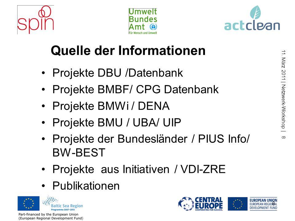 11. März 2011 | Netzwerk-Workshop | 8 8 Projekte DBU /Datenbank Projekte BMBF/ CPG Datenbank Projekte BMWi / DENA Projekte BMU / UBA/ UIP Projekte der