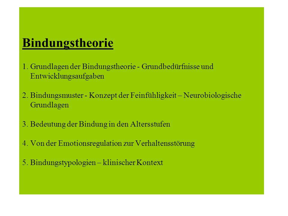Bindungstheorie 1.Grundlagen der Bindungstheorie - Grundbedürfnisse und Entwicklungsaufgaben 2.