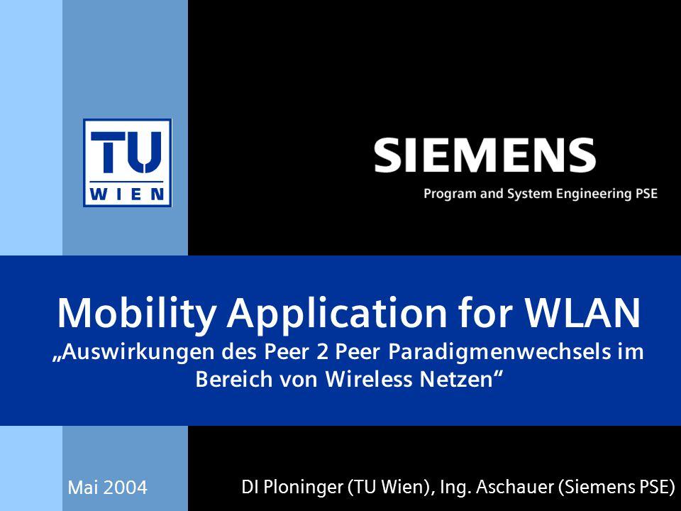 "Mai 2004 DI Ploninger (TU Wien), Ing. Aschauer (Siemens PSE) Mobility Application for WLAN ""Auswirkungen des Peer 2 Peer Paradigmenwechsels im Bereich"