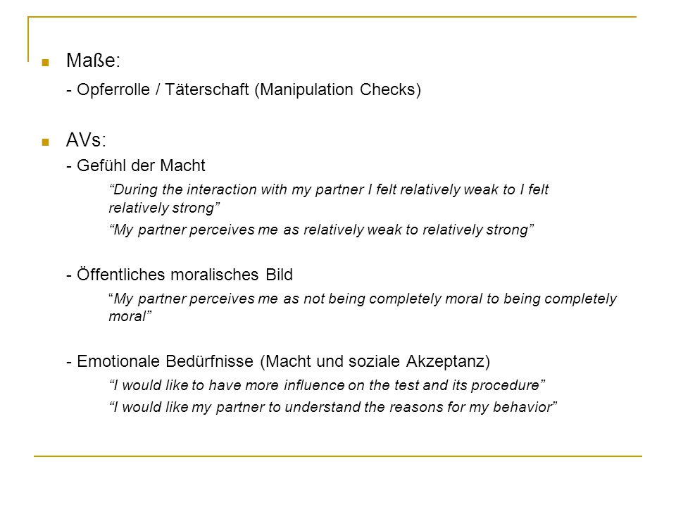 Ergebnisse Perpetrator (Judge)Victim (Writer)