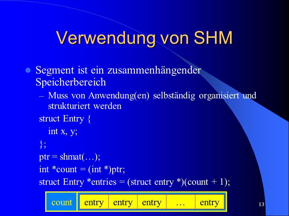 13 Verwendung von SHM Segment ist ein zusammenhängender Speicherbereich – Muss von Anwendung(en) selbständig organisiert und strukturiert werden struc