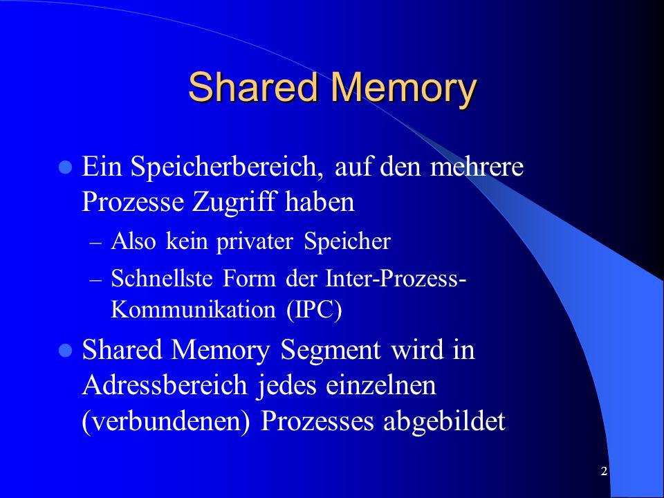 2 Shared Memory Ein Speicherbereich, auf den mehrere Prozesse Zugriff haben – Also kein privater Speicher – Schnellste Form der Inter-Prozess- Kommunikation (IPC) Shared Memory Segment wird in Adressbereich jedes einzelnen (verbundenen) Prozesses abgebildet