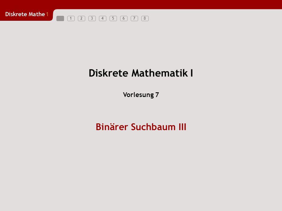 Diskrete Mathe1 123456781 Binärer Suchbaum –Suchen von Knoten –Löschen von Knoten (Wurzel) –Durchlaufstrategien Preorder Breitendurchlauf Übersicht