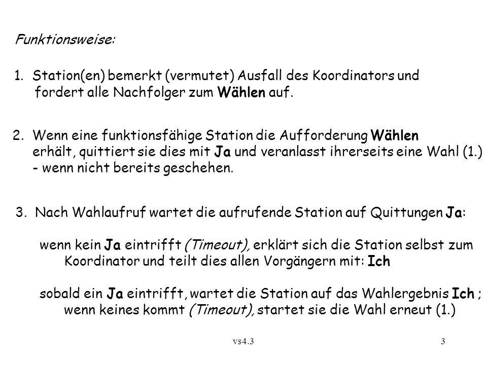 vs4.33 Funktionsweise: 1. Station(en) bemerkt (vermutet) Ausfall des Koordinators und fordert alle Nachfolger zum Wählen auf. 2. Wenn eine funktionsfä