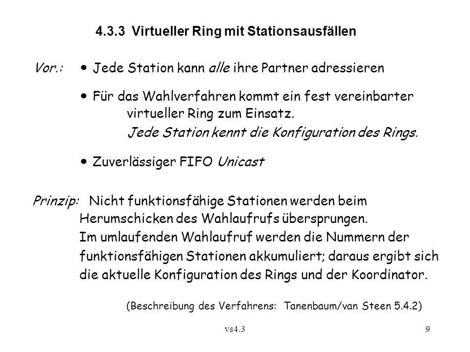 vs4.39 4.3.3 Virtueller Ring mit Stationsausfällen Vor.: Jede Station kann alle ihre Partner adressieren Für das Wahlverfahren kommt ein fest vereinbarter virtueller Ring zum Einsatz.