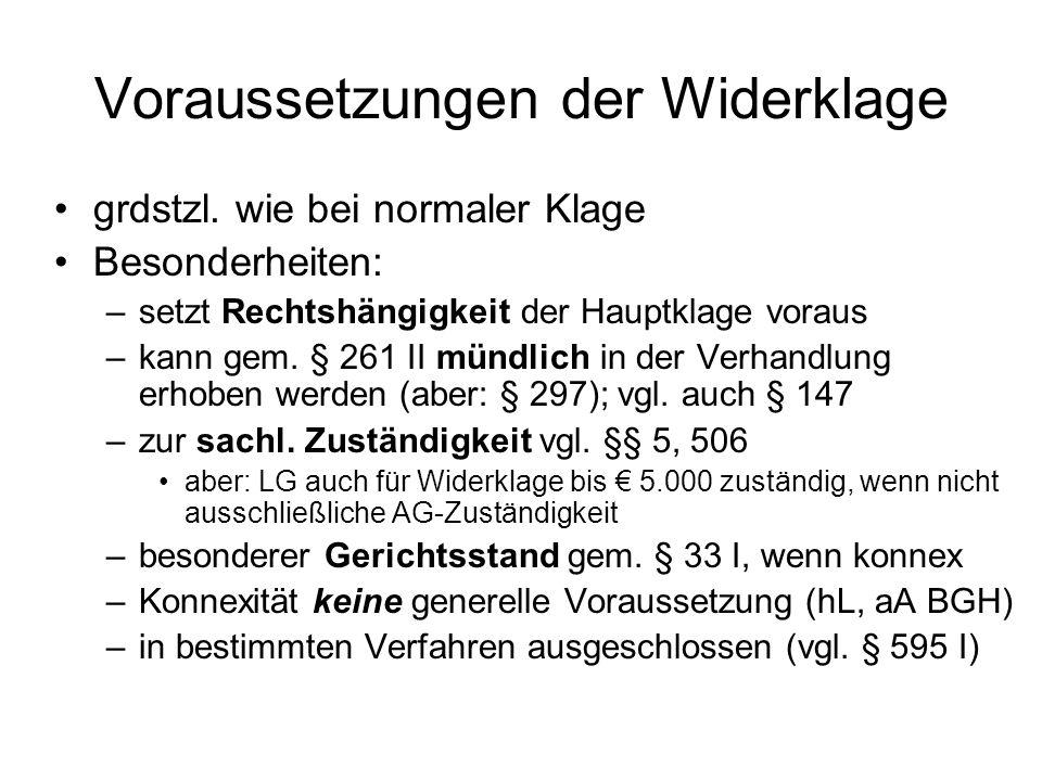 Voraussetzungen der Widerklage grdstzl.