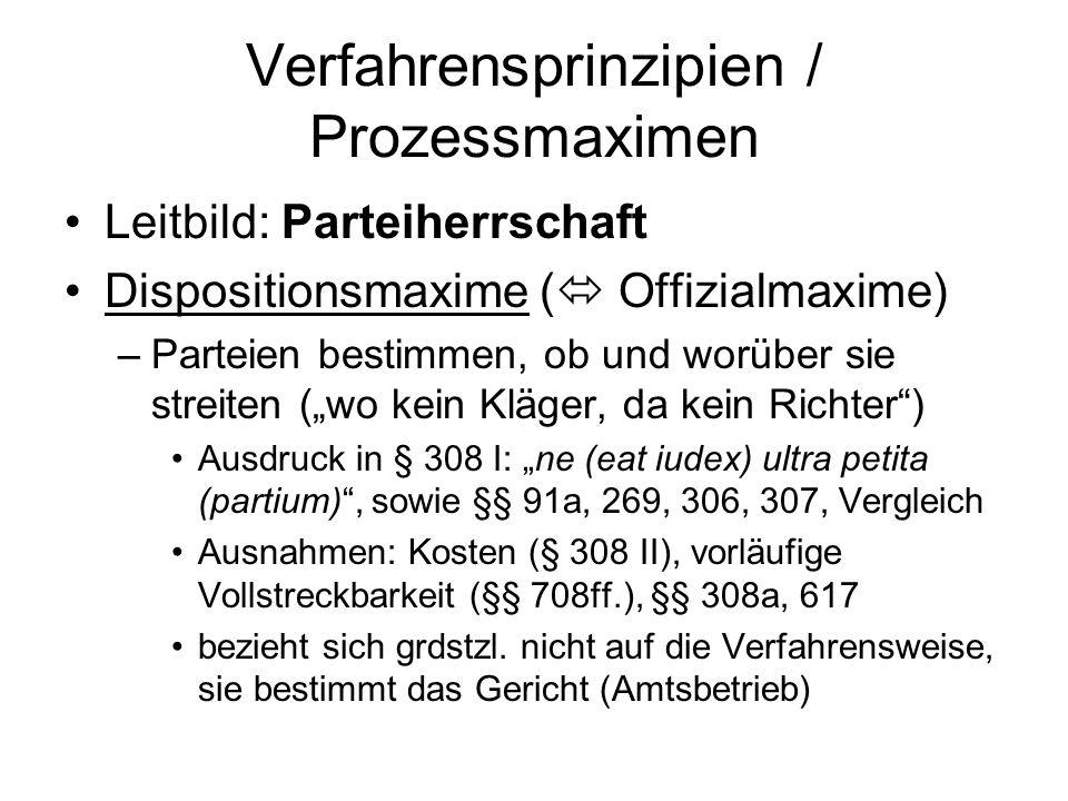 Verfahrensprinzipien / Prozessmaximen Leitbild: Parteiherrschaft Dispositionsmaxime (  Offizialmaxime) –Parteien bestimmen, ob und worüber sie streit