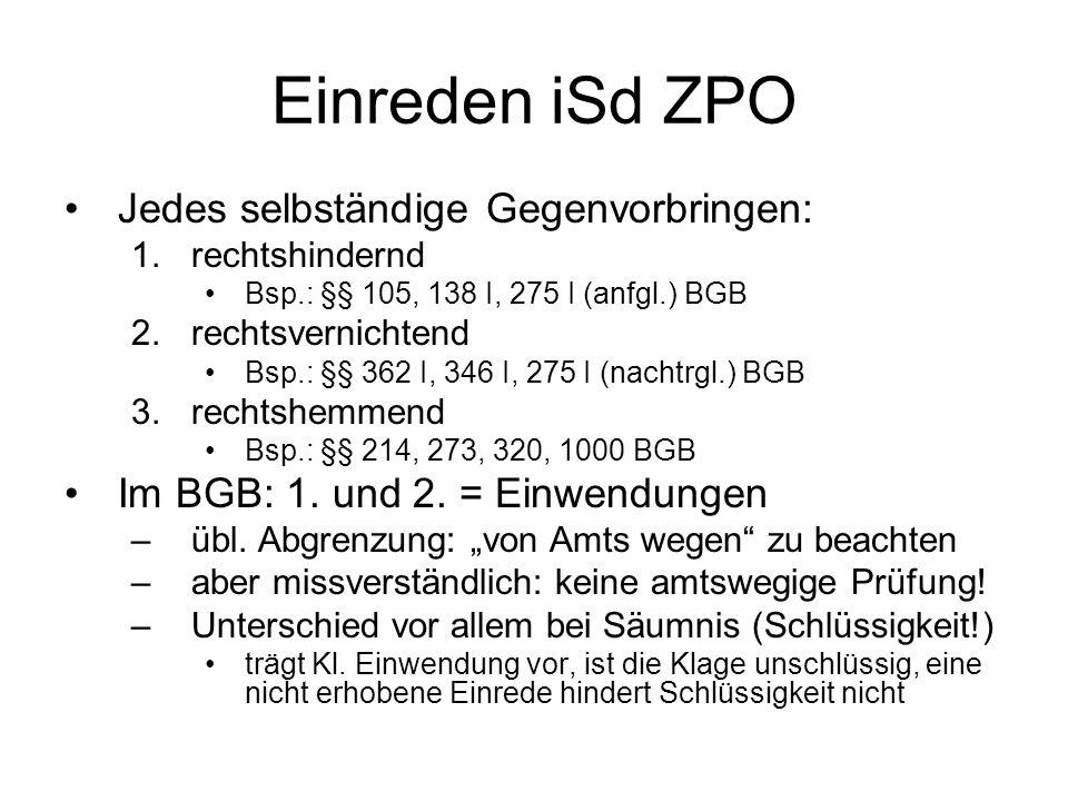 Einreden iSd ZPO Jedes selbständige Gegenvorbringen: 1.rechtshindernd Bsp.: §§ 105, 138 I, 275 I (anfgl.) BGB 2.rechtsvernichtend Bsp.: §§ 362 I, 346 I, 275 I (nachtrgl.) BGB 3.rechtshemmend Bsp.: §§ 214, 273, 320, 1000 BGB Im BGB: 1.