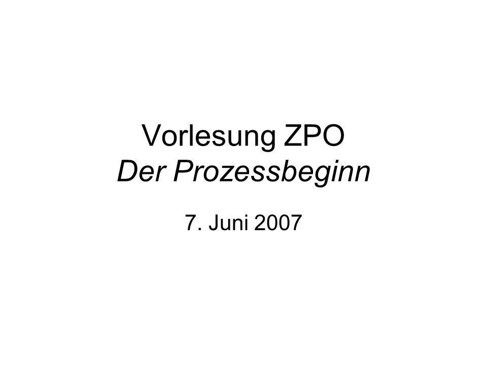 Vorlesung ZPO Der Prozessbeginn 7. Juni 2007