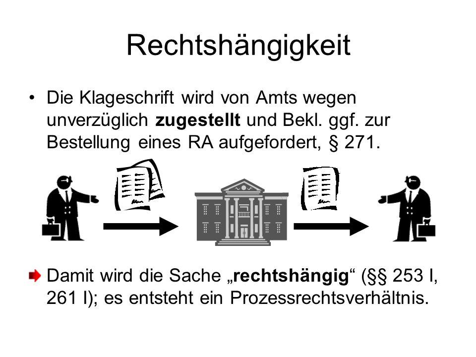 Rechtshängigkeit Die Klageschrift wird von Amts wegen unverzüglich zugestellt und Bekl. ggf. zur Bestellung eines RA aufgefordert, § 271. Damit wird d