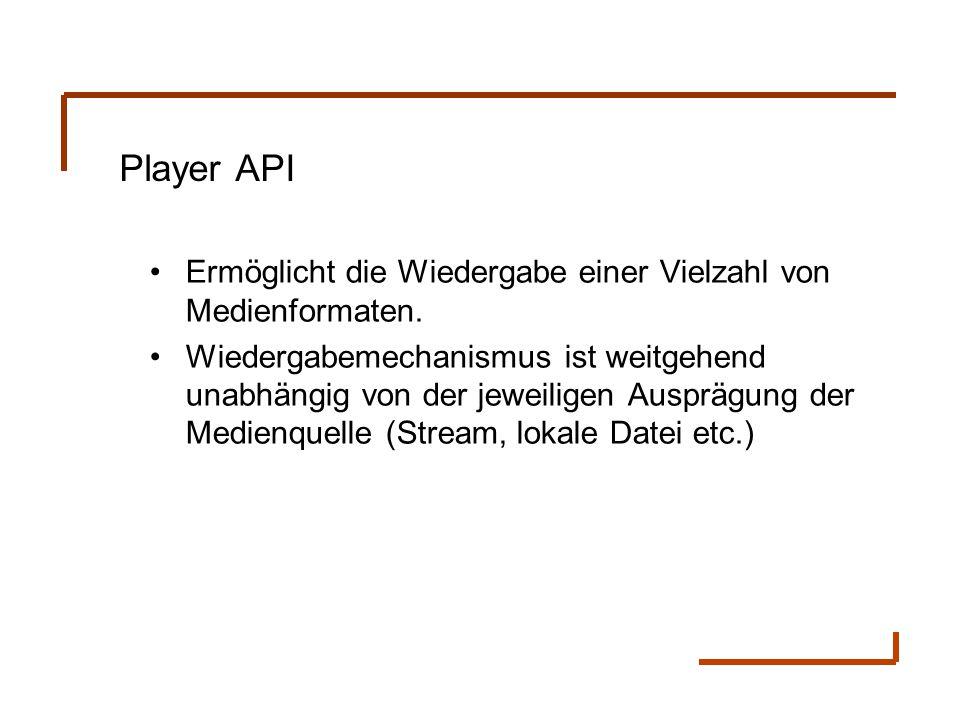 Player API Ermöglicht die Wiedergabe einer Vielzahl von Medienformaten. Wiedergabemechanismus ist weitgehend unabhängig von der jeweiligen Ausprägung