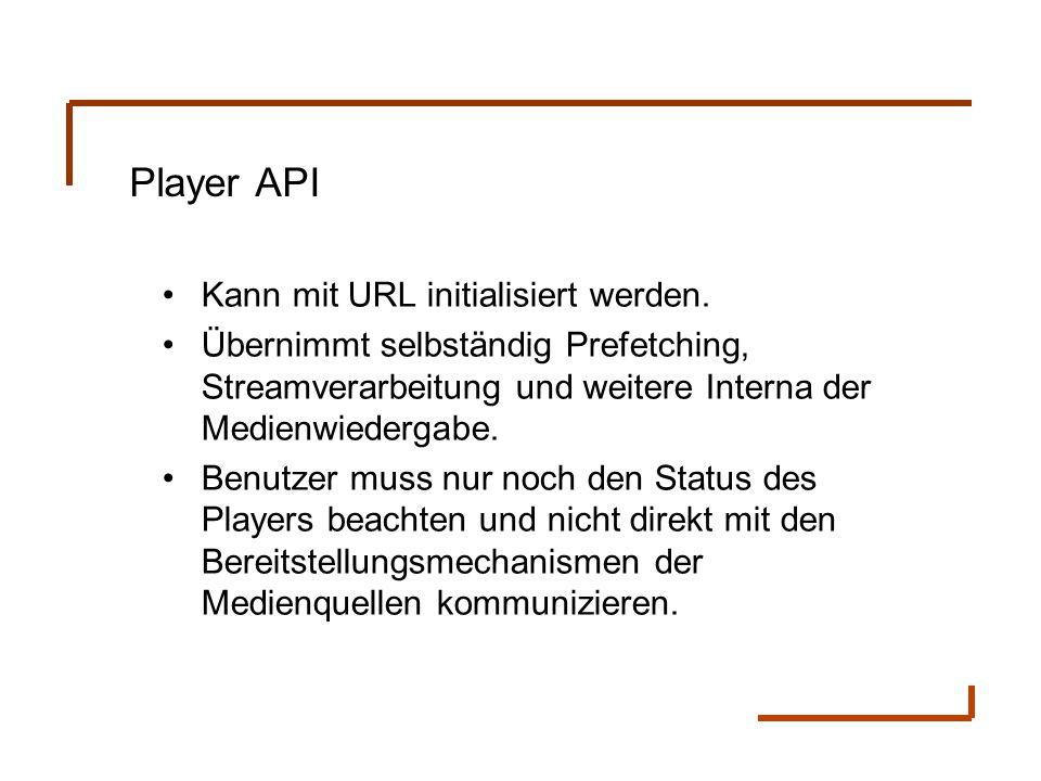 Player API Kann mit URL initialisiert werden. Übernimmt selbständig Prefetching, Streamverarbeitung und weitere Interna der Medienwiedergabe. Benutzer