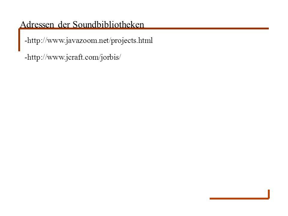 Adressen der Soundbibliotheken -http://www.javazoom.net/projects.html -http://www.jcraft.com/jorbis/