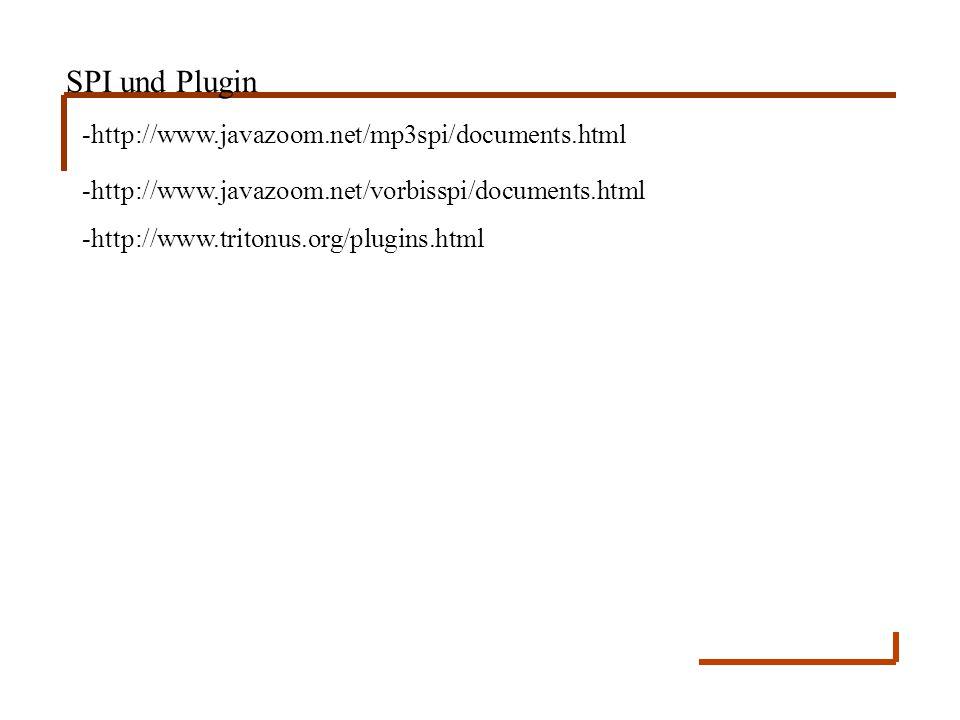 SPI und Plugin -http://www.javazoom.net/mp3spi/documents.html -http://www.javazoom.net/vorbisspi/documents.html -http://www.tritonus.org/plugins.html