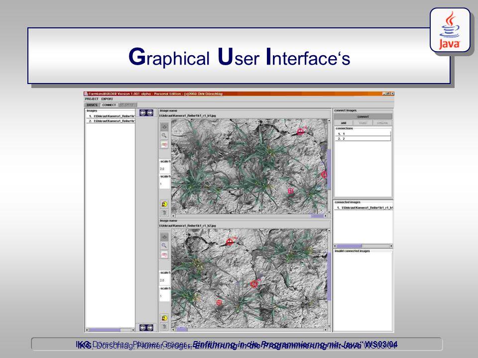 """IKG Dörschlag, Plümer, Gröger """"Einführung in die Programmierung mit Java WS03/04 Dörschlag IKG; Dörschlag, Plümer, Gröger; Einführung in die Programmierung mit Java WS03/04 G raphical U ser I nterface's"""