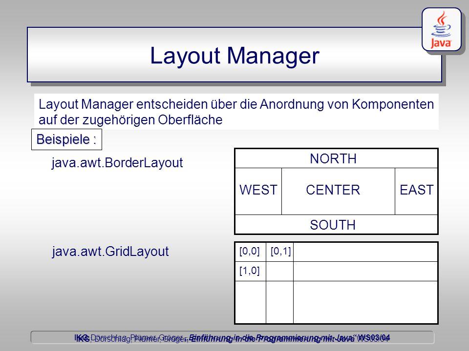 """IKG Dörschlag, Plümer, Gröger """"Einführung in die Programmierung mit Java WS03/04 Dörschlag IKG; Dörschlag, Plümer, Gröger; Einführung in die Programmierung mit Java WS03/04 Layout Manager Layout Manager entscheiden über die Anordnung von Komponenten auf der zugehörigen Oberfläche java.awt.BorderLayout java.awt.GridLayout CENTER NORTH EAST SOUTH WEST [0,0][0,1] [1,0] Beispiele :"""