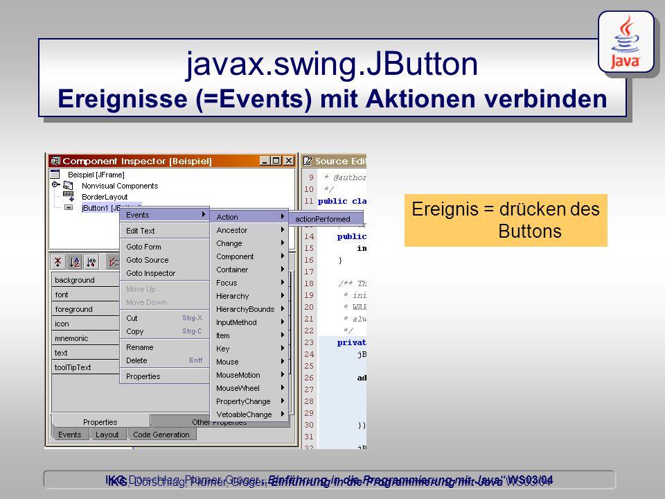 """IKG Dörschlag, Plümer, Gröger """"Einführung in die Programmierung mit Java WS03/04 Dörschlag IKG; Dörschlag, Plümer, Gröger; Einführung in die Programmierung mit Java WS03/04 javax.swing.JButton Ereignisse (=Events) mit Aktionen verbinden Ereignis = drücken des Buttons"""
