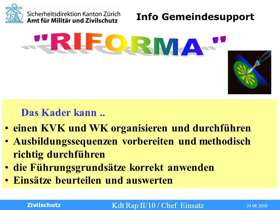 Info Gemeindesupport Kdt Rap II/10 / Chef Einsatz 24.08.2010 Zivilschutz Das Kader kann..