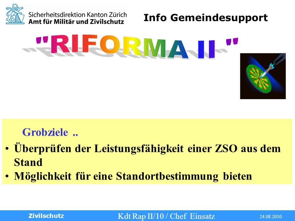 Info Gemeindesupport Kdt Rap II/10 / Chef Einsatz 24.08.2010 Zivilschutz Grobziele..