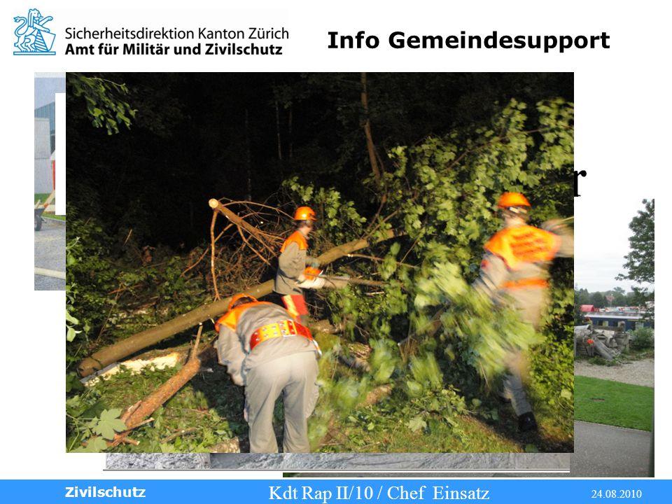Info Gemeindesupport Kdt Rap II/10 / Chef Einsatz 24.08.2010 Zivilschutz