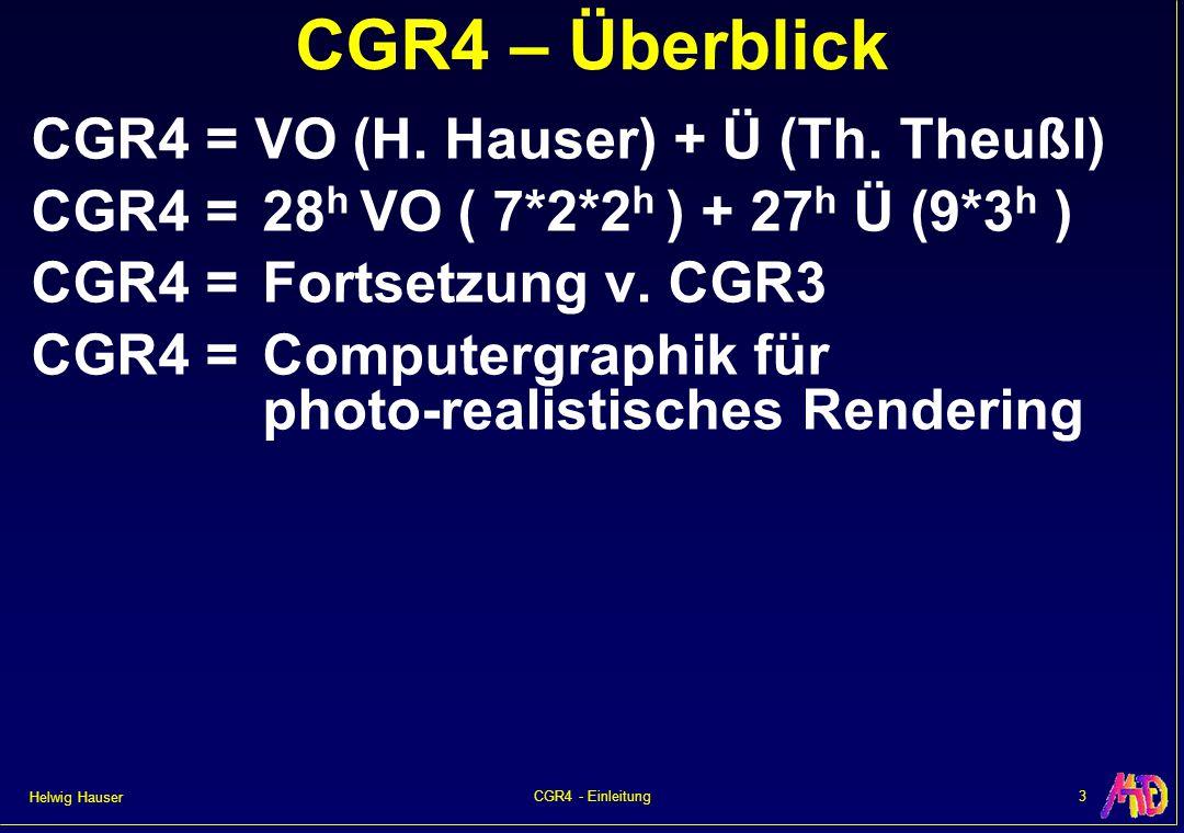 Helwig Hauser 3CGR4 - Einleitung CGR4 – Überblick CGR4 = VO (H. Hauser) + Ü (Th. Theußl) CGR4 =28 h VO ( 7*2*2 h ) + 27 h Ü (9*3 h ) CGR4 =Fortsetzung