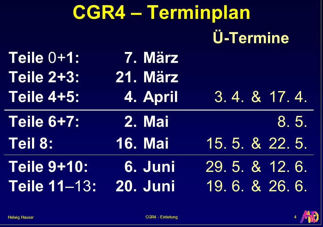 Helwig Hauser 4CGR4 - Einleitung Ü-Termine Teile 0+1:7.März Teile 2+3:21.März Teile 4+5:4.April3. 4.&17. 4. Teile 6+7:2.Mai8. 5. Teil 8:16.Mai15. 5.&2