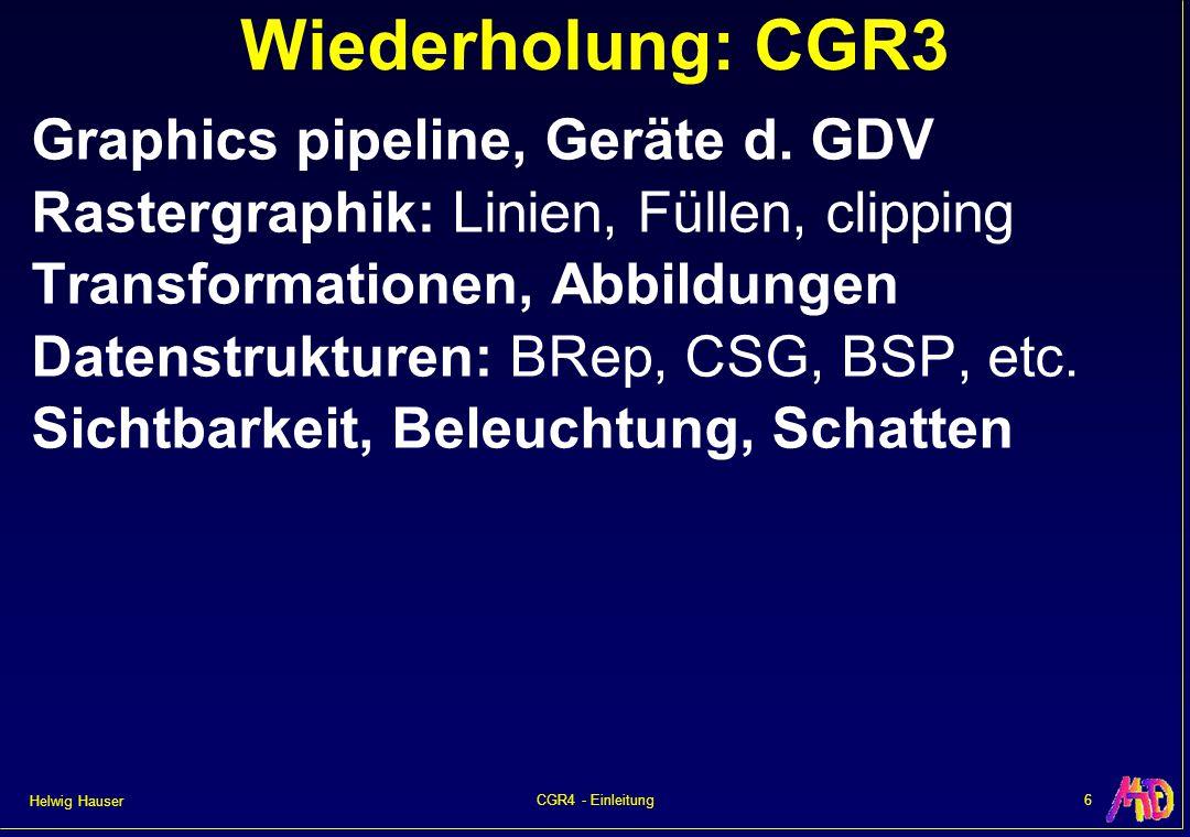 Helwig Hauser 7CGR4 - Einleitung CGR4 – Themenplan Themenbereiche Teile 0+1:Intro, ModellierungModellierung Teile 2+3:Kurven, über AliasingKurvenüber Aliasing Teile 4+5:Texturing, GamingTexturingGaming Teile 6+7:Farbe, BeleuchtungFarbeBeleuchtung Teil 8:Ray TracingRay Tracing Teile 9+10:Radiosity, VRRadiosityVR Teile 11–13:Visualisierung, Zusammenfassung, UE-GalleryVisualisierung