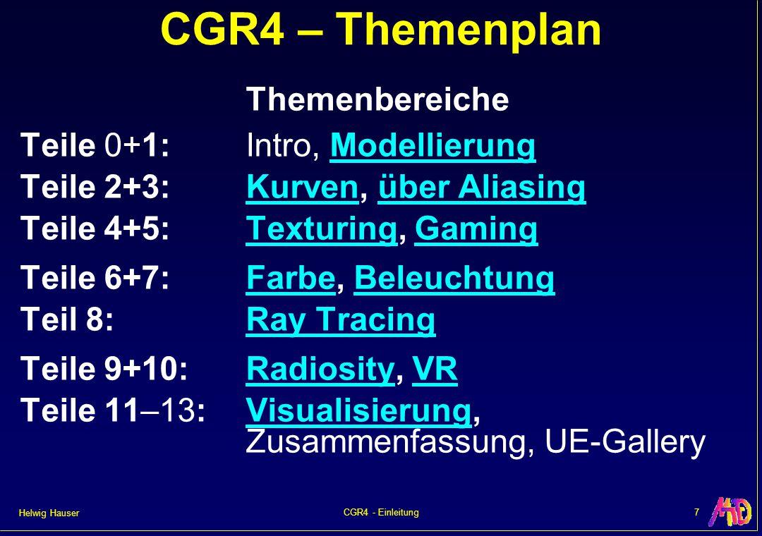 Helwig Hauser 7CGR4 - Einleitung CGR4 – Themenplan Themenbereiche Teile 0+1:Intro, ModellierungModellierung Teile 2+3:Kurven, über AliasingKurvenüber