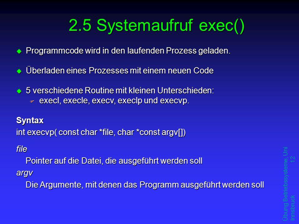Übung Betriebssysteme, Uni Innsbruck 12 u Programmcode wird in den laufenden Prozess geladen.