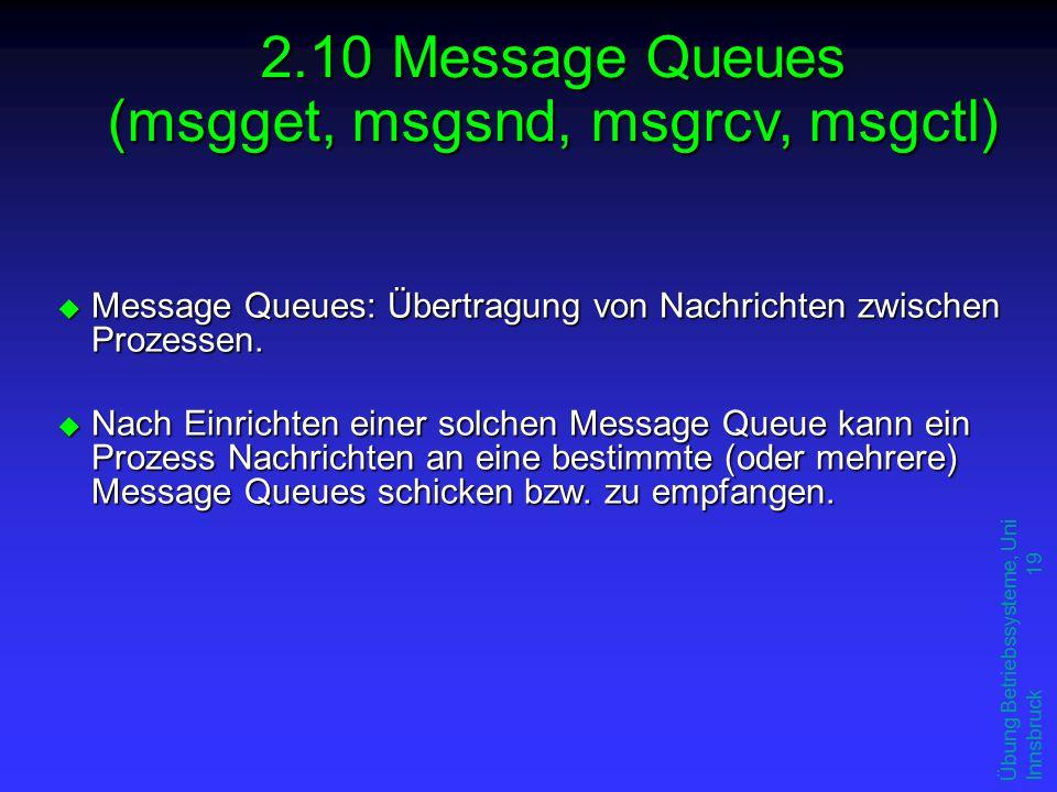 Übung Betriebssysteme, Uni Innsbruck 19 u Message Queues: Übertragung von Nachrichten zwischen Prozessen.