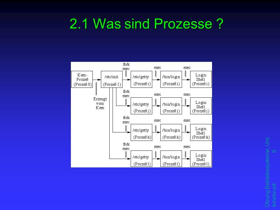 Übung Betriebssysteme, Uni Innsbruck 17 u ipcs: zeigt Interprozesskommunikationsressourcen an (ipc status) F Kommando zum Auflisten der bereits vergebenen IPC-Ressourcen (Semaphoren, Message Queues und Shared Memory) F Enthält neben den Schlüsseln und der ID auch den Namen des Besitzers dieser Ressource u ipcrm: Ressourcen löschen (ipc remove) F falls ein Prozess seine eigenen Ressourcen nicht löscht gib die Ressourcen mit ipcrm freigib die Ressourcen mit ipcrm frei F Als Parameter dienen die ID der Ressource und der Typ.