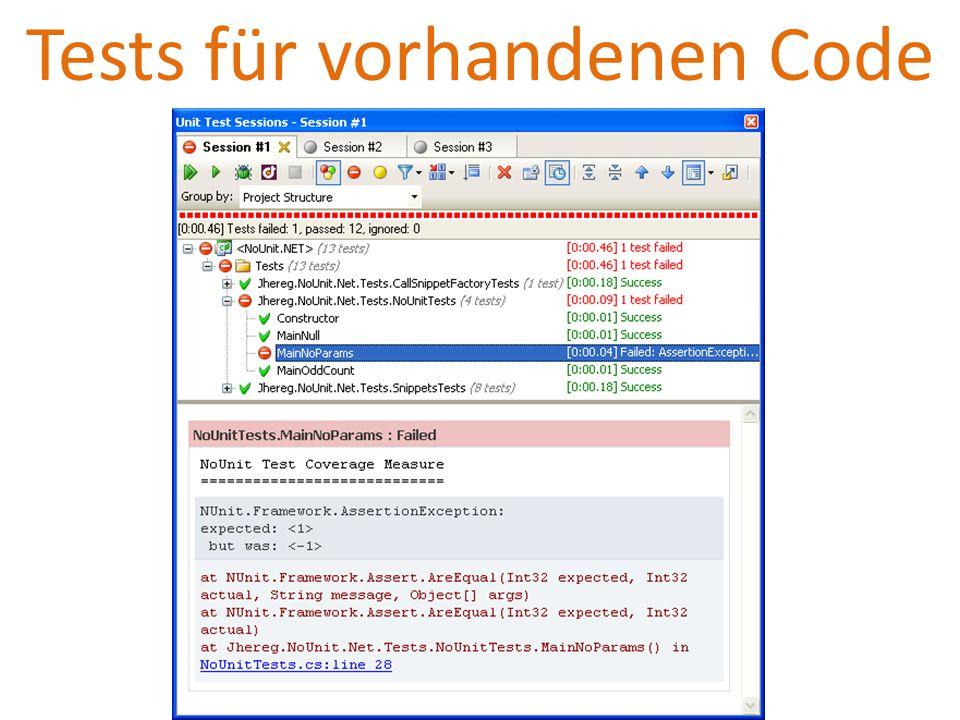 Tests für vorhandenen Code