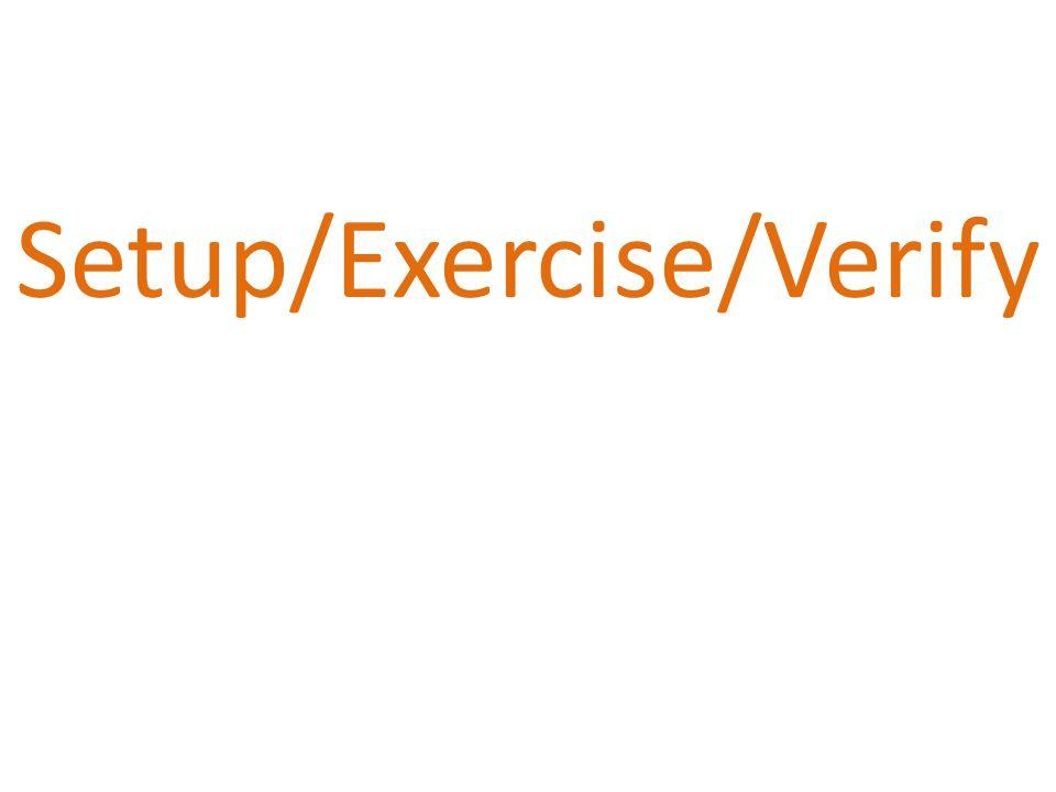 Setup/Exercise/Verify