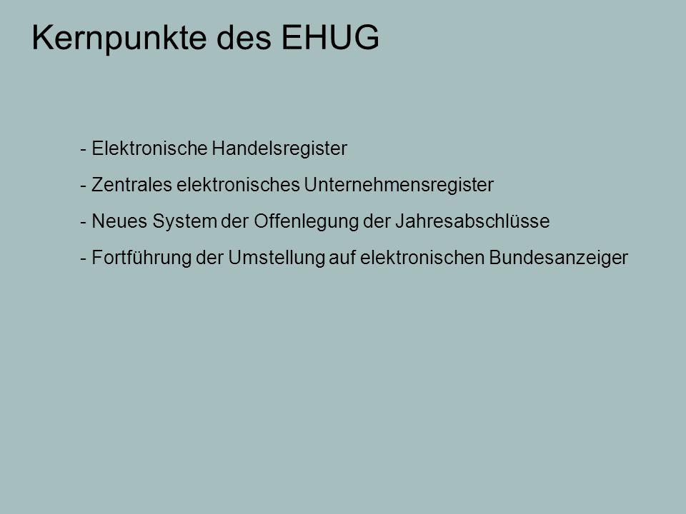 Kernpunkte des EHUG - Elektronische Handelsregister - Zentrales elektronisches Unternehmensregister - Neues System der Offenlegung der Jahresabschlüss