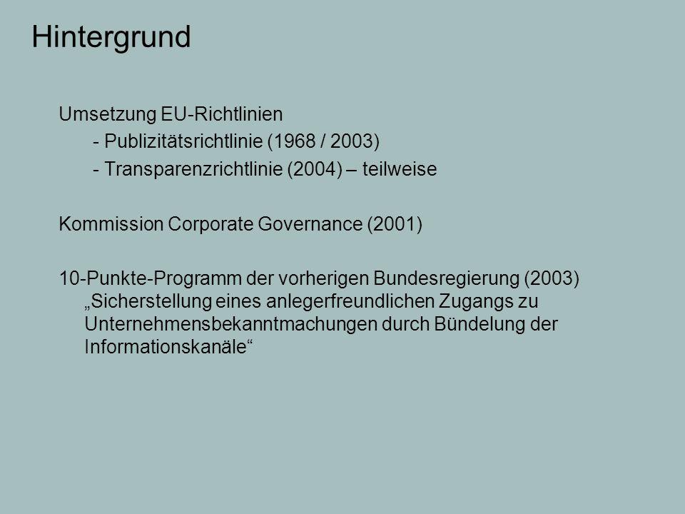 Hintergrund Umsetzung EU-Richtlinien - Publizitätsrichtlinie (1968 / 2003) - Transparenzrichtlinie (2004) – teilweise Kommission Corporate Governance