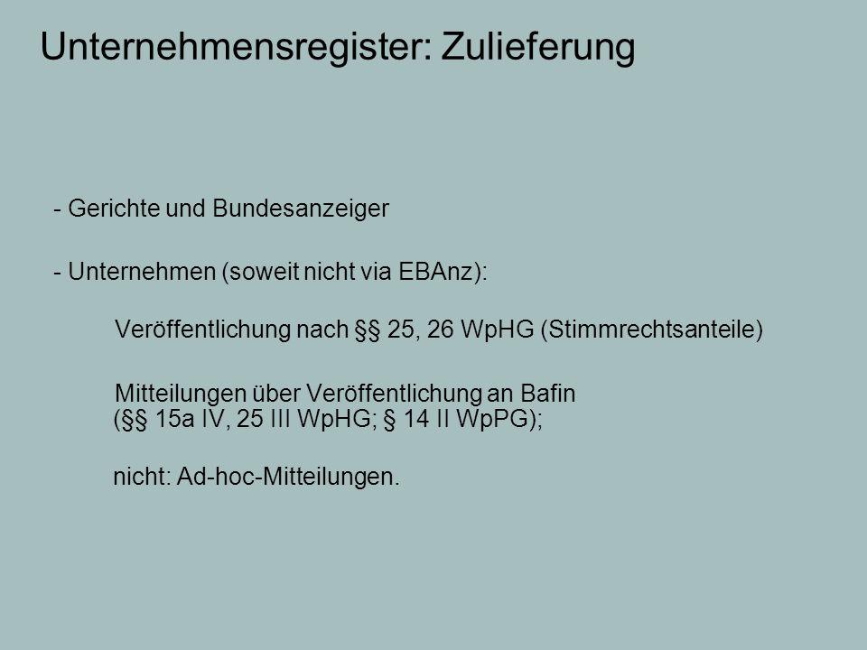 Unternehmensregister: Zulieferung - Gerichte und Bundesanzeiger - Unternehmen (soweit nicht via EBAnz): Veröffentlichung nach §§ 25, 26 WpHG (Stimmrec