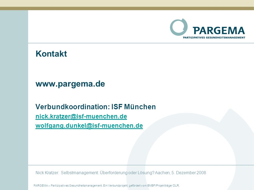PARGEMA – Partizipatives Gesundheitsmanagement.