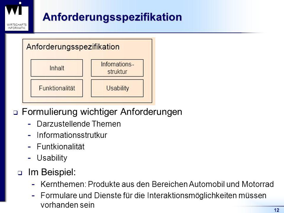 12 WIRTSCHAFTS INFORMATIKAnforderungsspezifikation  Formulierung wichtiger Anforderungen  Darzustellende Themen  Informationsstrutkur  Funtkionali