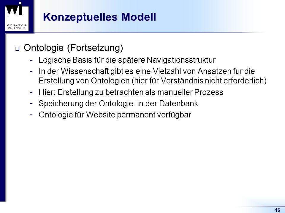 16 WIRTSCHAFTS INFORMATIK Konzeptuelles Modell  Ontologie (Fortsetzung)  Logische Basis für die spätere Navigationsstruktur  In der Wissenschaft gi