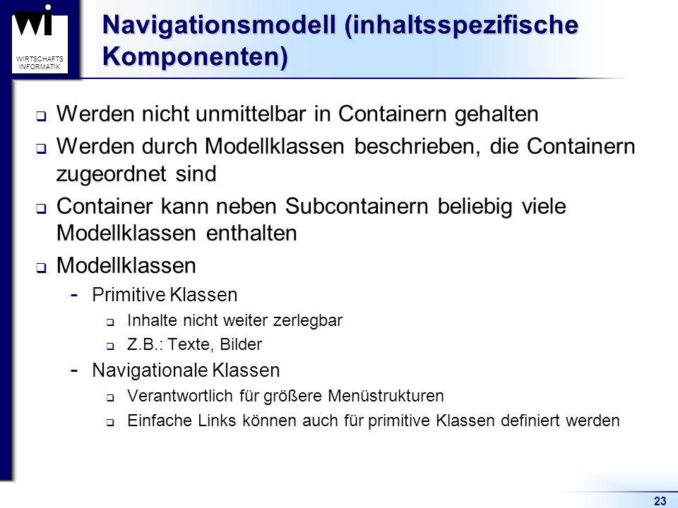 23 WIRTSCHAFTS INFORMATIK Navigationsmodell (inhaltsspezifische Komponenten)  Werden nicht unmittelbar in Containern gehalten  Werden durch Modellkl