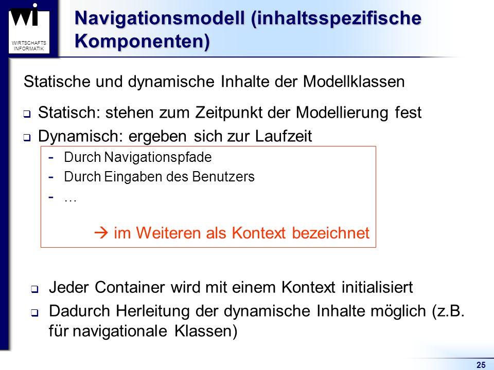 25 WIRTSCHAFTS INFORMATIK Navigationsmodell (inhaltsspezifische Komponenten)  Statisch: stehen zum Zeitpunkt der Modellierung fest  Dynamisch: ergeb