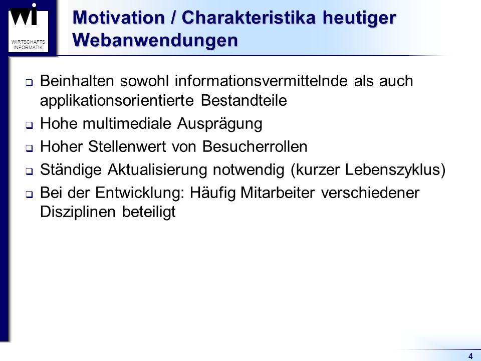 4 WIRTSCHAFTS INFORMATIK Motivation / Charakteristika heutiger Webanwendungen  Beinhalten sowohl informationsvermittelnde als auch applikationsorient